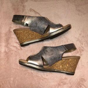 Women's Clark's Pewter Metallic Wedge Sandals